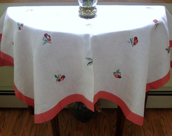 Embroidered Linen Tablecover circa 1950s, table linens, hand made, cottage chic, shabby chic decor, country decor, 48x56, oblong