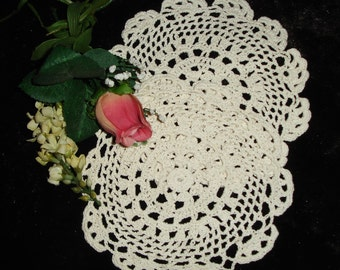 Doilies Set of Two hand crocheted, Round Doilies, pair, 1960s handmade, 7 inches round, vintage decor