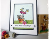 """CUTE Handmade Greeting Card - Wonderful Day- using Penny Black stamp """"Bees and Bunny"""" by HoneyblossomDesigns"""