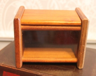 Cool Vintage Teak 1950s 1960's Recipe Box Mid Century Modern Beauty