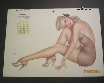 Vintage Calendar 1943 Vargas pin-up original (November calendar page)