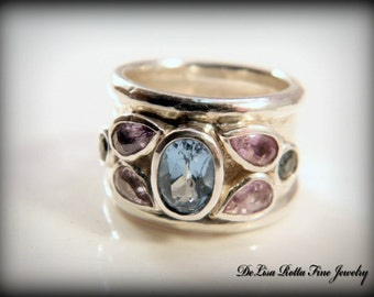 Recycled Silver, Ring, Sapphires, Topaz, Spring Blossom Ring, Size 5 US, OOAK, Engagement Ring, Fashion Ring, Gemstones