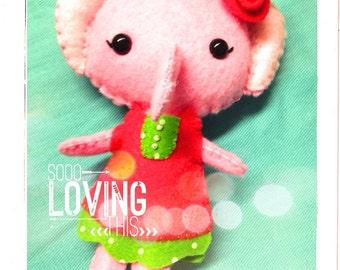 Patsy the Elephant. Elephant Plushie. Pocket Pal. Gingermelon.
