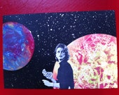 SHIT IN SPACE #32 Woman with money...in space! Mixed media collage art. Number 32 of an ongoing series.
