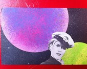 SHIT IN SPACE # 38 Kooky woman with a sailor hat...in space. Original collage art series.
