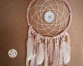 Dream Catcher - Soft Dreams - With White Round Mandala Amulet, White Feathers and Laces - Boho Home Decor, Nursery Mobile