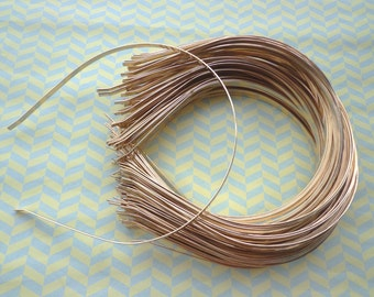 Gold Plated Metal Headbands - Lot of 10- thin 5mm wide