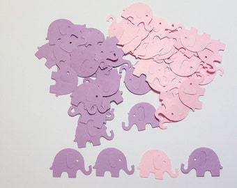 120 Lilac & Baby Pink Elephants Die Cut Cutout Punch Embellishment Scrapbook Confetti