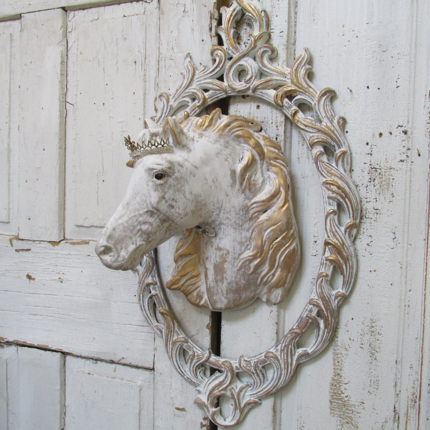 Crowned Horse Head Wall Mount Sculpture Large Cement French