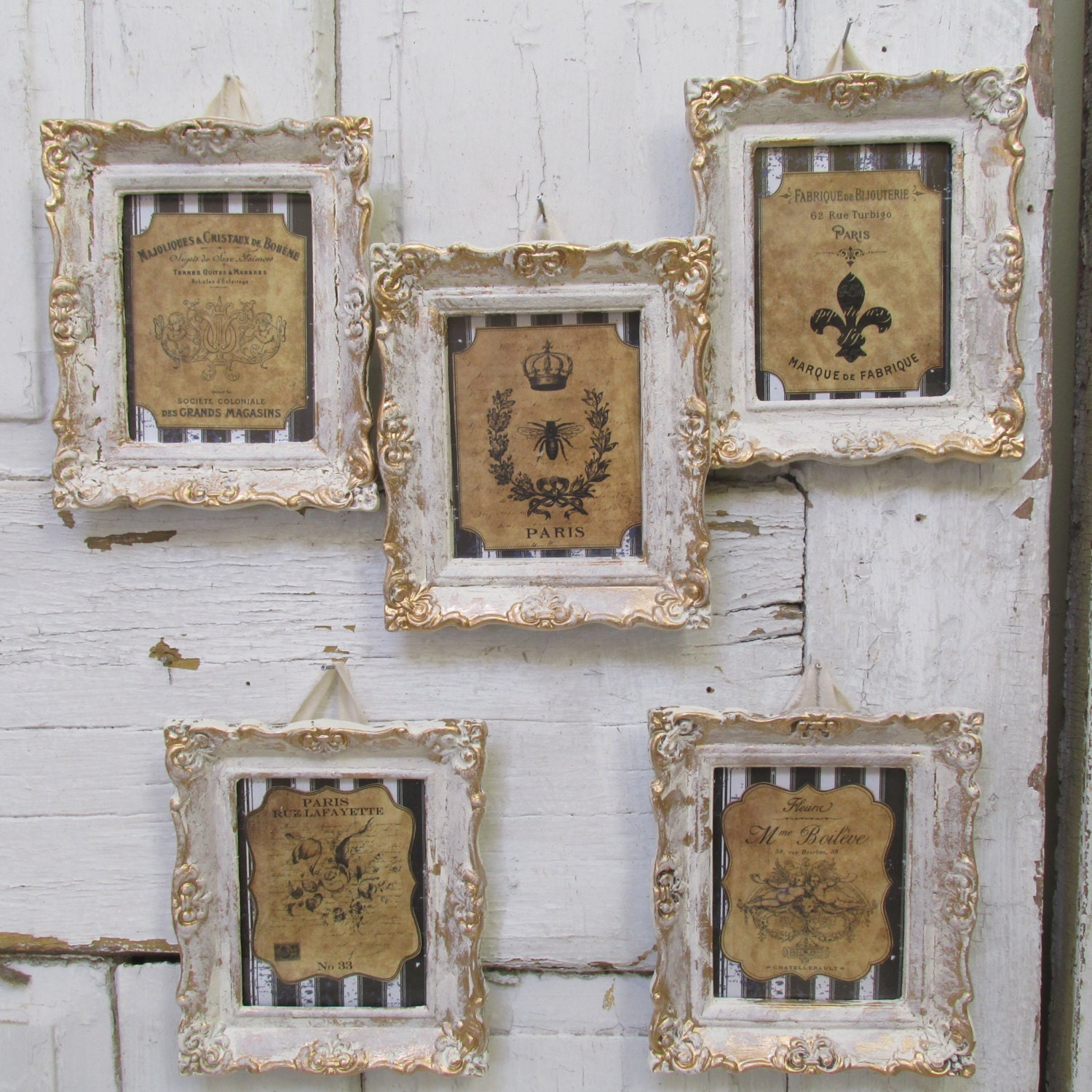 Framed Wall Art Grouping Burlap Colored French By