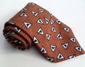 Vintage 1980s Orange and Black Geometric Silk Tie by GJ Cahn