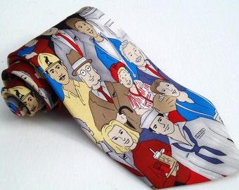 Vintage 1990s Loyal Order of Moose Multicolor Tie with People Print