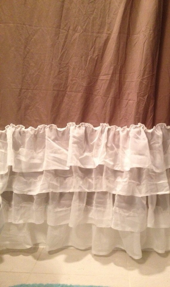 Soft Brown And Ivory Simple Ruffled Shower Curtain By Juliaann87