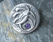 Bird of Paradise Silver Pewter Brooch with Amethyst
