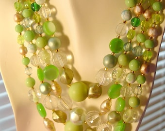 Green Vintage 4 Strand Beaded Necklace
