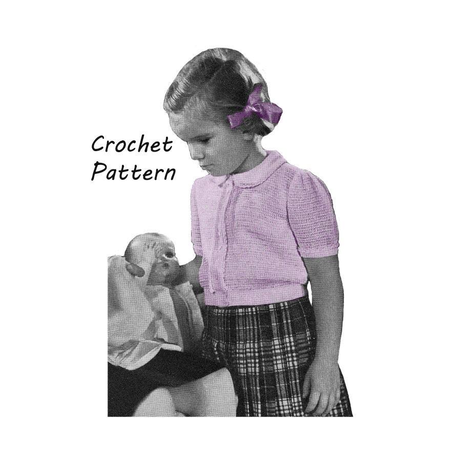 1940s girl 39 s peter pan collar blouse crochet pattern sz 4 for Peter pan shirt pattern