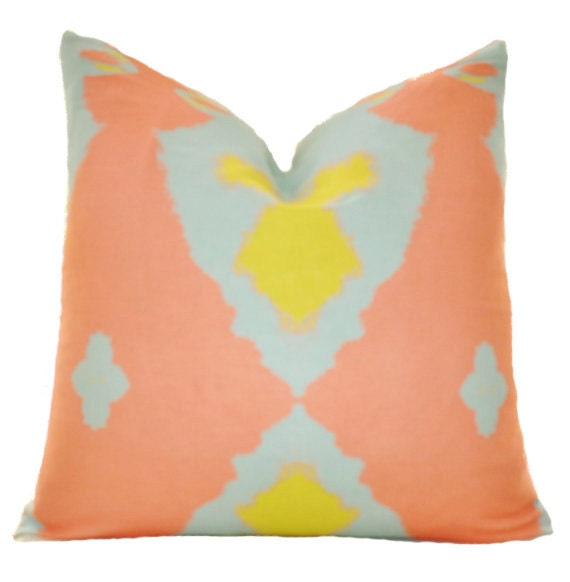 Peach Decorative Throw Pillows : Items similar to Decorative Designer Pillow - Coral Peach Yellow Blue Geometric Ikat Pillow ...