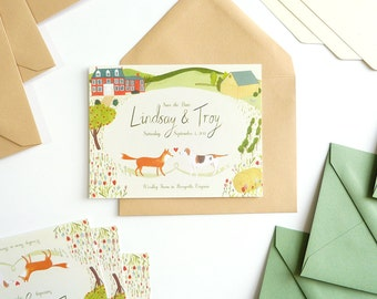 Dog and Fox Barn Wedding custom illustrated Save the Dates