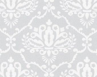 "Grey & White Damask Fabric Remnant 14"" x 16"""