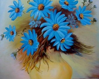 Oil on Canvas Bright Blue Daisies Signed Original Art