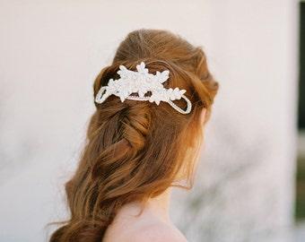 Wedding Headpiece. Lace Beaded Bridal Comb. Bridal Hair Piece {Alexandra}