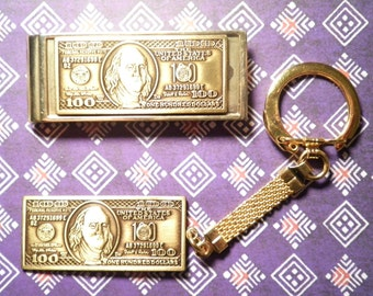 1 Goldplated 100 Dollar Money Clip and Key Chain Set