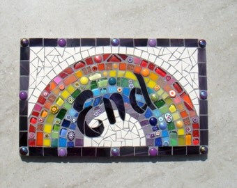 Rainbows End Custom Mosaic House Name, Sign, Plaque, Street Address, Yard Art, Bespoke, Outdoor, Wall hanging, ornament, Glass, door name