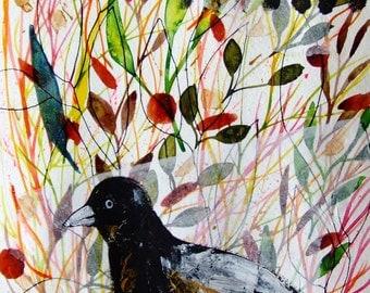 Bird Painting Collage Art Original Painting Bird Nature Botanic Nature Raven Plants Home Decor Bird Plants Bird Fine Art Raven Wall Art