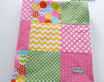Baby Girl Patchwork Minky Blanket Quilt Pink Green Yellow Lavender Riley Blake Hexi Dots Chevrons--Ready to Ship