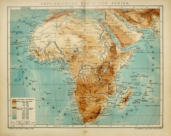 1900 Antique map of AFRICA. Physical Map. Rivers and Mountains. 117 years old chart