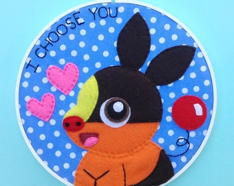 SALE-Tepig-I Choose You Embroidery 8 inches