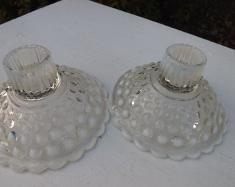 Set of vintage Anchor Hocking moonstone opalescent hobnail candle holders - great condition.