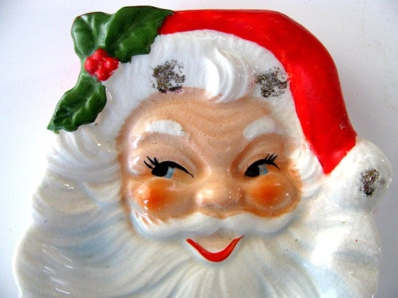 Santa Wall Plaque, Soap Dish, Christmas Decoration Wall Hanging 1950s