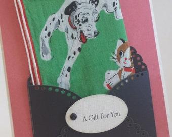 Unique Dalmatian Dog Handkerchief Vintage Keepsake Gift Dogs Cats Mother Friend Coworker Teacher Dog Lover Birthday Graduation Hanky Card