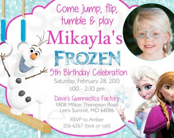 PHOTO INVITATION CARD Frozen Olaf Queen Elsa Girls Gymnastics or Trampoline Birthday Printable Invitation