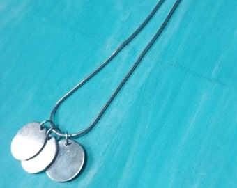 Moroccan solid sterling silver disc charm necklace