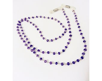 Amethyst Beaded  Long  Necklace for Eye Glasses Straps in Sterling Silver, Silver Jewelry, Perfect Gift for Parent and Grandparents
