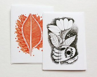 two art cards - 5x7 / greeting cards, stationary / block print, linocut, drawing / red black white / leaf, flower, hamsa, art gift under 10