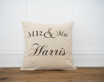 Mr. & Mrs. Personalized  Pillow Cover