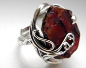 SALE 25% OFF!!! Use the coupon code: SALE25 Burgundy agate sterling silver ring - adjustable