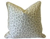 Custom Pillow Cover / Animal Print by Jaclyn Smith Home in Dove / Taupe-Grey Cheetah Leopard / Both Sides / Made to Order