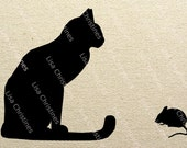 Cat and Mouse Black Silhouette Illustration Clipart, Instant Download, Digital Transfer Image for Fabric Transfers, Paper Crafts etc 411