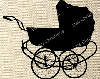 Vintage Baby Carriage Black Silhouette Illustration Clipart, Instant Download, Digital Transfer Image for Fabric Transfers, Paper Crafts 409
