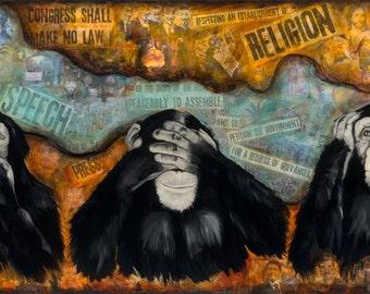 "Monkeys, First Amendment, 13"" x 19""  Signed Art Print by Jamie Rice"