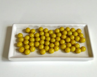 Vintage Agate Marbles.  Yellow Green. 60 Total