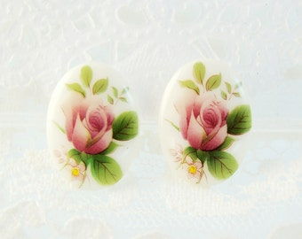 Vintage Pink Rose Limoge Cabochon Cameo 18x13mm Oval Glass - 2