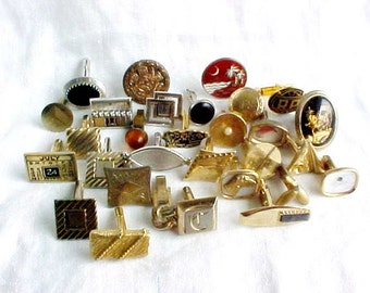 Vintage Single Men's Cuff Links - Swing Backs - Art Bits - Assemblage Bracelet supply - Mixed Media Supply - Good Broken Jewelry Parts