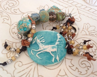 Aqua Turquoise Blue Ceramic Horse Bracelet with Leather and Chunky  Beads, Spring Fashion Accessory, Wearable Art, Pottery Horse Jewelry