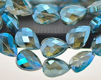 Teardrop Faceted Crystal Glass Beads 18mm Montana Blue  - 10 Count