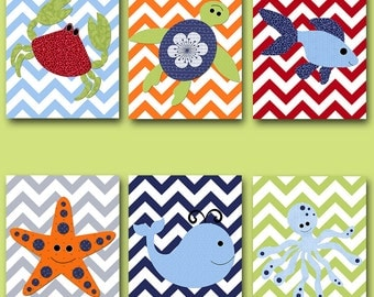 Canvas Bathroom Decor Baby Nursery Decor Baby Nursery Art Kids Art Kids Wall Art Nursery Wall Art Kid Room Decor set of 6 Whale Blue Green /